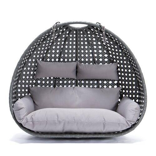 HOME DELUXE Hängesessel »Polyrattan Hängesessel TWIN - Korb + Kissen« (Set, 2-tlg., Korb und Kissen), gefederte Aufhängung, grau