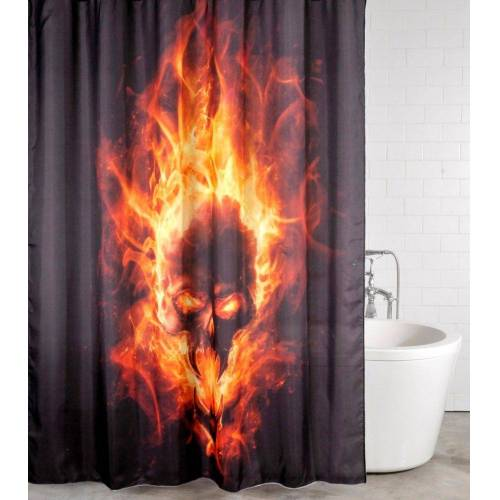 Sanilo Duschvorhang »Totenkopf in Flammen« Breite 180 cm, 180 x 200 cm