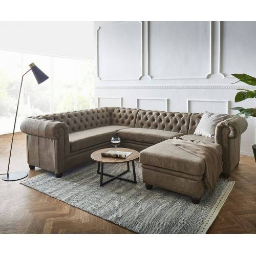 DELIFE Wohnlandschaft »Chesterfield«, 266 cm Taupe Abgesteppt Ottomane Rechts, Taupe