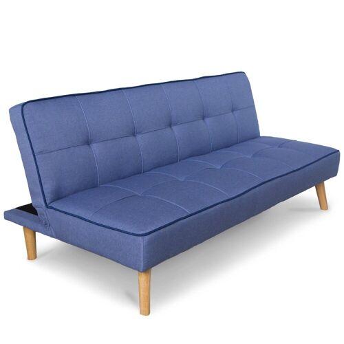 Homestyle4u Schlafsofa, Schlafcouch 97x175 cm ausklappbar, blau