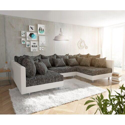 DELIFE Wohnlandschaft »Clovis«, Weiss Schwarz Wohnlandschaft Modulares Sofa, Schwarz/Weiss