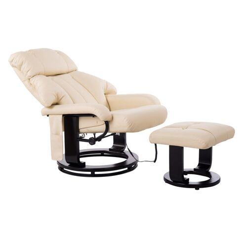 HOMCOM Massagesessel »TV Sessel und Hocker mit Massage- und Heizfunktion«, creme