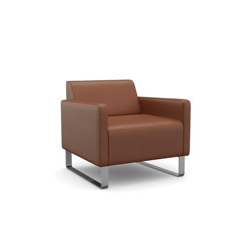 machalke® Sessel »single«, Ledersessel mit Metallkufen, cognac SADDLE