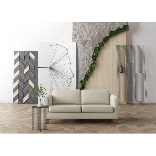machalke® 2,5-Sitzer »amadeo«, Ledersofa mit geschwungenen Armlehnen, Breite 198 cm, creme SADDLE