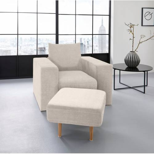 LOOKS by Wolfgang Joop Sessel, Verwandlungssessel: aus Sessel wird Sessel mit Hocker, beige