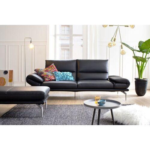 KAWOLA Sofa »KIMI«, Ledersofa schwarz mit oder ohne Hocker