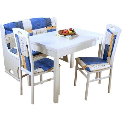 Essgruppe »Madrid«, (Spar-Set, 4-tlg., 1 Sitzbank, 1 Esstisch, 2 Stühle), 4-teilig, weiß/blau   blau   weiß