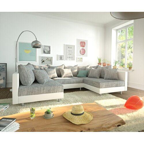 DELIFE Wohnlandschaft »Clovis«, Weiss Hellgrau Wohnlandschaft Modulares Sofa, Grau/Weiss
