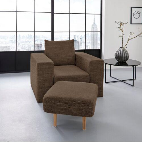 LOOKS by Wolfgang Joop Sessel, Verwandlungssessel: aus Sessel wird Sessel mit Hocker, braun