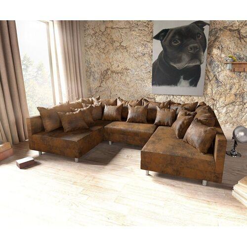 DELIFE Wohnlandschaft »Clovis«, Braun Antik Optik Wohnlandschaft modulares Sofa, Braun