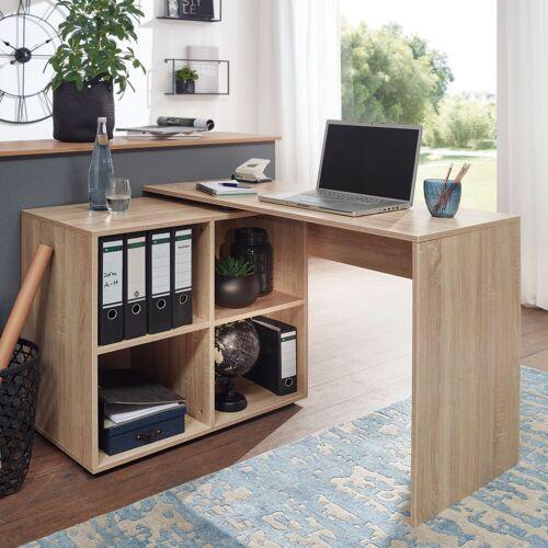 FINEBUY Schreibtisch »SuVa11881_1«, Design Eckschreibtisch mit Regal 117 x 75,5 x 88 cm Moderner Büro- Computer-Tisch Arbeitszimmer Winkelschreibtisch Home Office