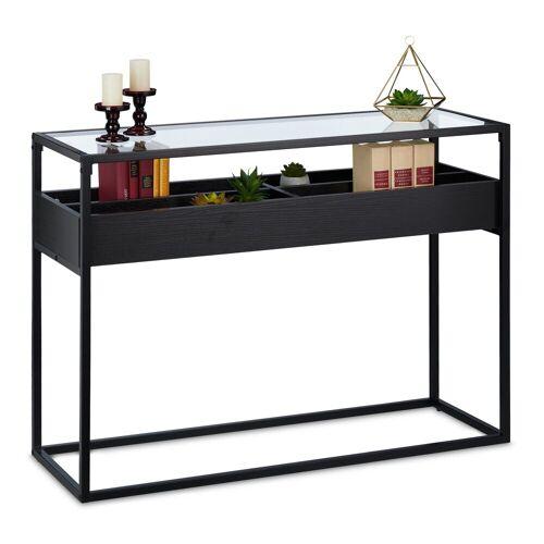 relaxdays Konsolentisch »Konsolentisch Glas mit 4 Fächern«