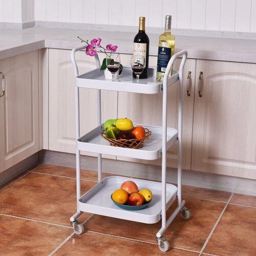 COSTWAY Küchenwagen »Küchenrollwagen«, weiß