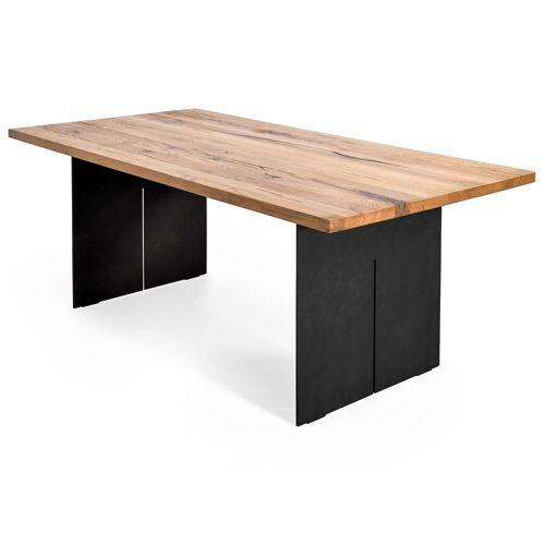 MÖBEL IDEAL Esstisch, 200 x 100 cm Massivholz Eiche Industrial Design