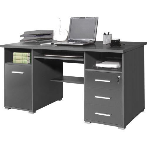 GERMANIA Schreibtisch »0484«, mit Tastaturauszug und abschließbarem Schubkasten, anthrazit