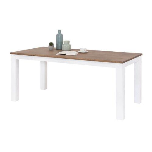 MÖBEL IDEAL Esstisch »Lale«, im Landhausstil Weiß / Braun - 90 x 180 cm