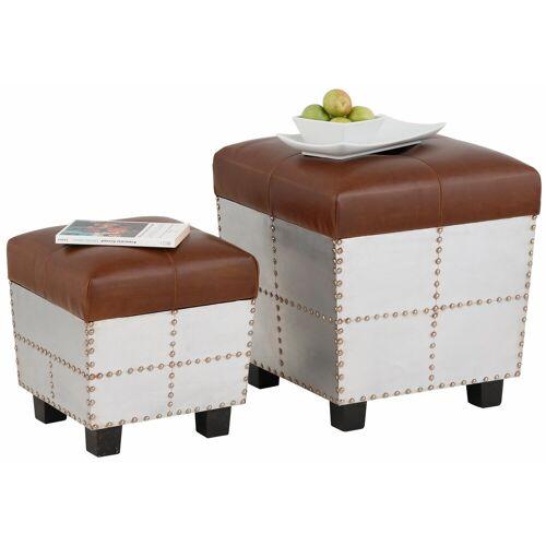 Home affaire Sitztruhe (2er-Set), mit aufklappbarer Sitzfläche, silber/braun