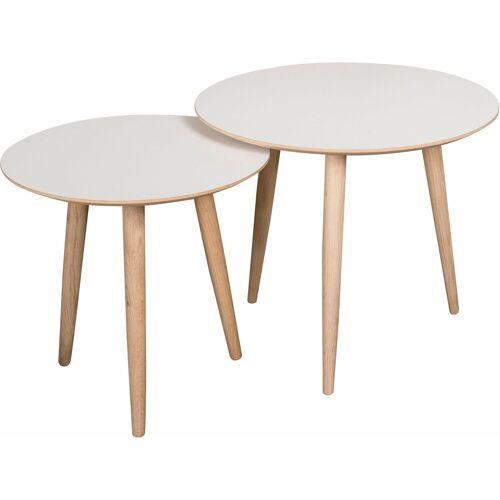 andas Couchtisch »Yvonne« (Set, 2 St), Yvonne», 2 runde Tische in 2 Größen zu Auswahl, weiß/eiche