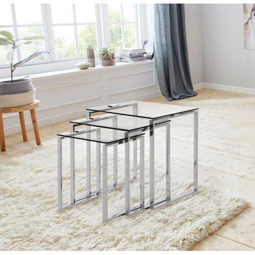 andas Beistelltisch »Karina« (Set), mit einer Glastischplatte aus klarem Glas und Chromgestell