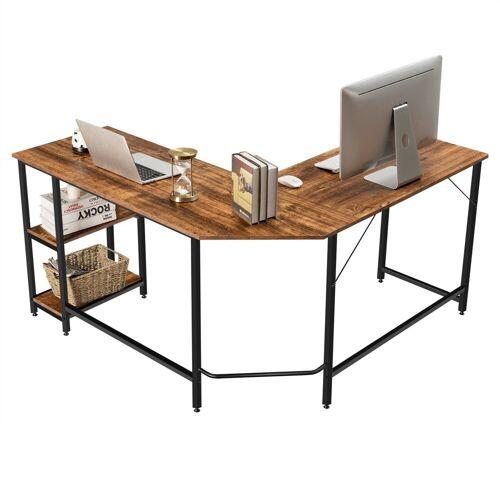 COSTWAY Schreibtisch »Homeoffice-Schreibtisch, Computer-Eckschreibtisch«, 137 cm L-förmiger Schreibtisch, mit 2 Ablageflächen, platzsparend