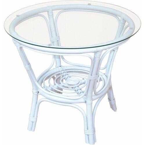Home affaire Tisch, gemütliche Rattanmöbel ideal für Wohnraum oder Wintergarten, weiß