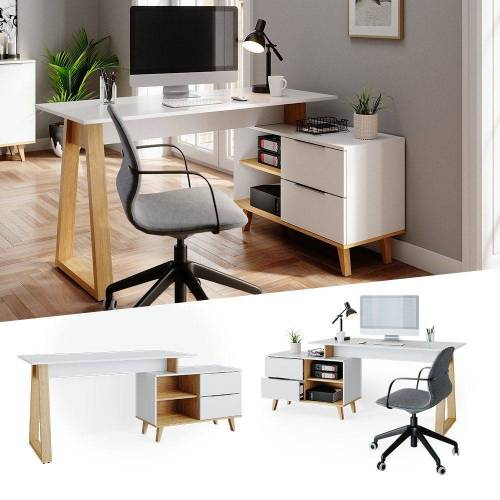 Vicco Schreibtisch »Eckchreibtisch NEPTUNE Computer Büro PC Arbeitszimmer weiß Eiche Skandi«