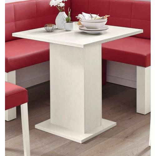 SCHÖSSWENDER Säulen-Esstisch »Anna 2«, zeitloses Design, Holzwerkstoff mit Farbe Weiß   Holzwerkstoff mit Farbe Weiß   Holzwerkstoff mit Farbe Weiß