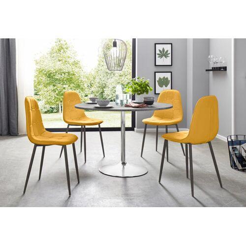 Essgruppe, (Set, 5-tlg), mit rundem Tisch im Zement-Optik, Zement-Optik-Curry