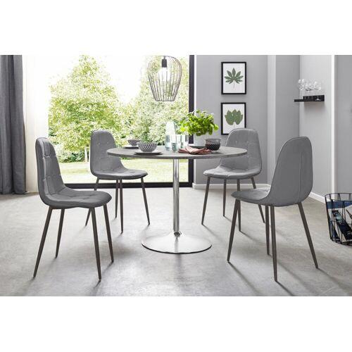 Essgruppe, (Set, 5-tlg), mit rundem Tisch im Zement-Optik, Zement-Optik-Grau