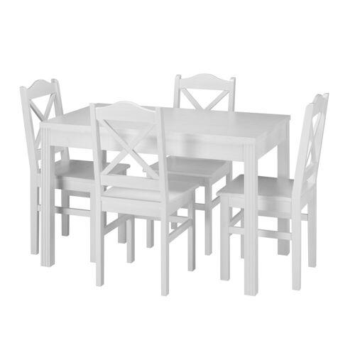 ERST-HOLZ Essgruppe »Landhaus-Essgruppe mit Tisch und 4 Stühle Kiefer Massivholz waschweiß 90.70-51 C W-Set 20«