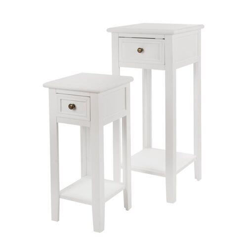 elbmöbel Telefontisch »2x Telefontisch Set Tisch weiß«, Beistelltisch: 2er Set 33x80x33 cm weiß Landhausstil