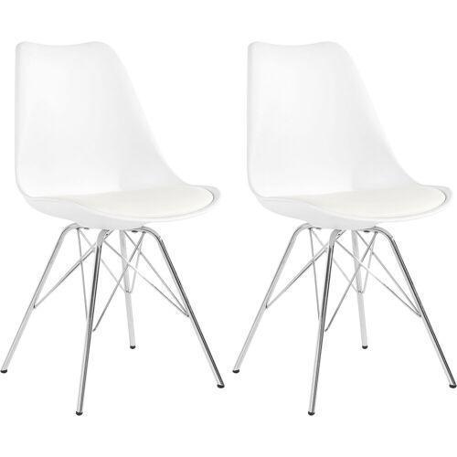 Homexperts Schalenstuhl »Ursel 03« (2 Stück), Sitzschale mit Sitzkissen in Kunstleder, weiß