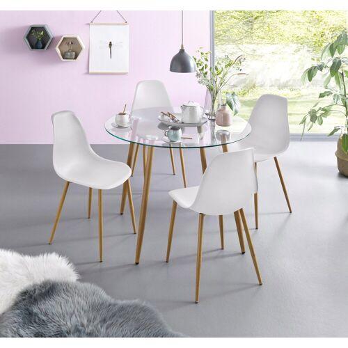 Essgruppe, (Set, 5-tlg), Glastisch mit 4 Stühlen (Kunststoffschale), weiss