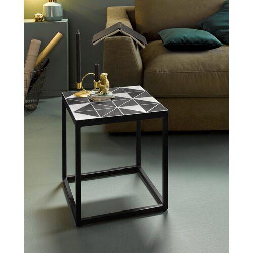 INOSIGN Beistelltisch »Steph«, mit Metallgestell, Mosaik Tischplatte mit Zementfliesen in schwarz, weißem Geo-Design