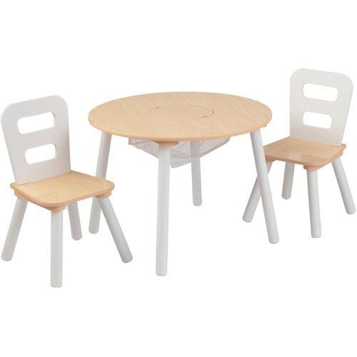 KidKraft® Kindersitzgruppe »Runder Aufbewahrungstisch«, (3-tlg), natur-weiß