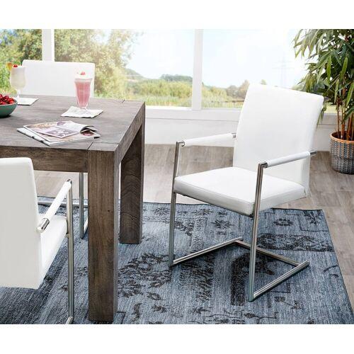 DELIFE Küchenstuhl Gabor Freischwinger mit Armlehne Freischwinger, Weiß