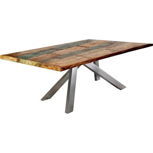 SIT Esstisch »Tops&Tables«, mit bunter Altholzplatte, Shabby Chic, Vintage, silber