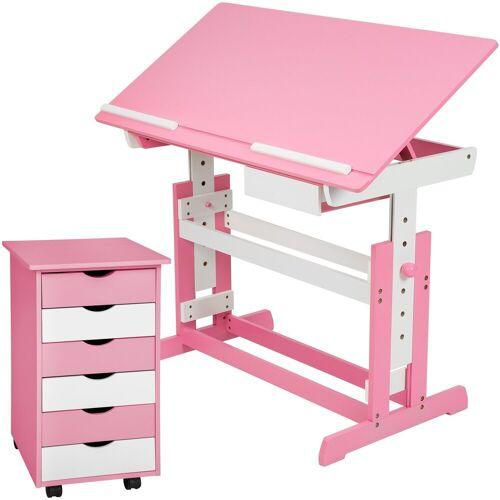 tectake Kinderschreibtisch »Kinderschreibtisch und Rollcontainer« (1-St), rosa