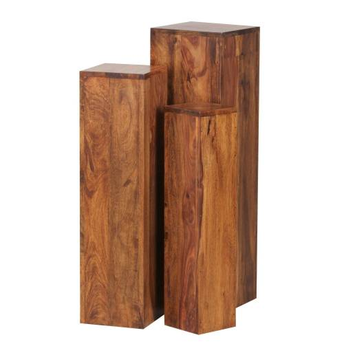 Wohnling Beistelltisch »WL1.566«, 3er Set Massivholz 24,5x85x24,5 cm Sheesham Tische Holztisch Natur-Produkt Echtholz e Dekosäulen Drei Holztische Braun Blumenhocker Holz Modern