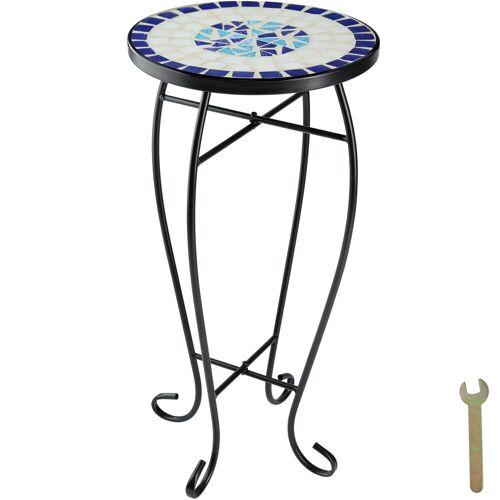 tectake Balkonhängetisch »Balkontisch Blumenhocker Mosaik« (1-St), weiß/blau