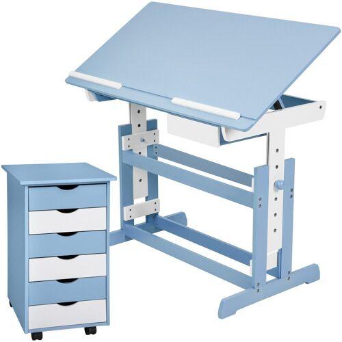 tectake Kinderschreibtisch »Kinderschreibtisch und Rollcontainer« (1-St), blau