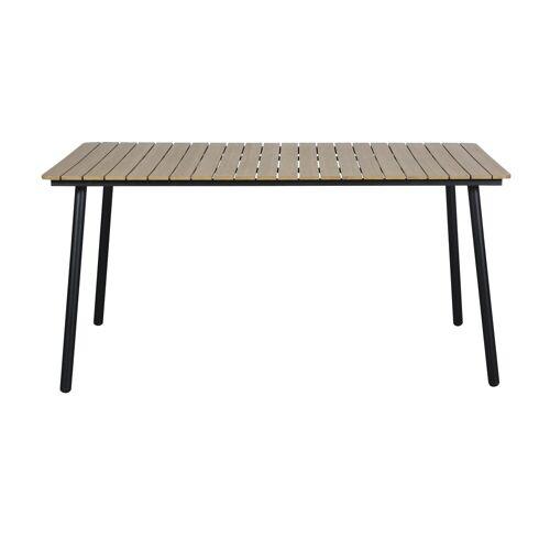 ebuy24 Gartentisch »Crisp Gartentisch, 153 cm schwarz/teak.«