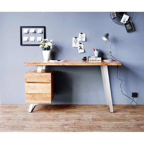 DELIFE Schreibtisch »Live-Edge«, Akazie Natur 147x62 massiv Baumkante 3 Schübe Schreibtisch