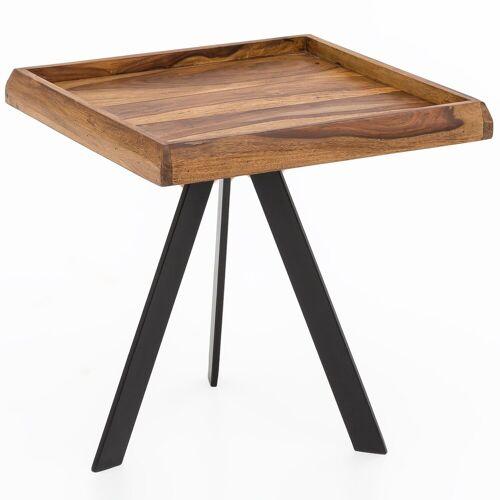 FINEBUY Beistelltisch »FB51450«, Beistelltisch 45 x45 cm quadratisch Sheesham Massivholz mit Metall Gestell Couchtisch Wohnzimmertisch Holztisch Wohnzimmer