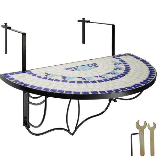 tectake Balkonhängetisch »Balkontisch Mosaik klappbar« (1-St), weiß/blau