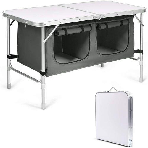 COSTWAY Campingtisch »Campingschrank«, Höhenverstellbar von 53-70cm, weiß + grau