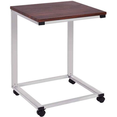 COSTWAY Laptoptisch »Laptoptisch«, mit Rollen, Beistelltisch Sofatisch Notebooktisch Pflegetisch Ablagetisch Metall + Holz, Silber