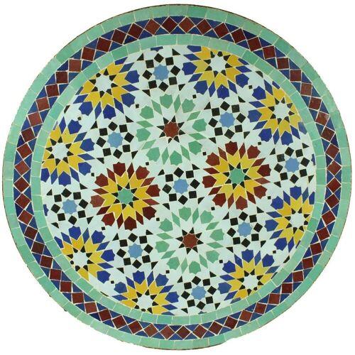 Casa Moro Gartentisch »Mediterraner Gartentisch Mosaiktisch Ankabut Ø 60 cm rund mit Gestell Höhe 73 cm, Kunsthandwerk aus Marrakesch, Handmade Bistrotisch Mosaik-Beistelltisch Balkontisch, MT2044«, Handmade
