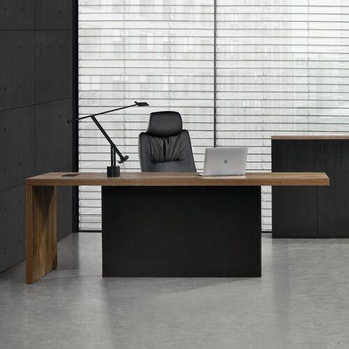 neu.haus Regal-Schreibtisch, »Modell Vorstand« Repräsentativer Chefzimmer Schreibtisch 220x80cm [Eiche smoked] MDF, furniert