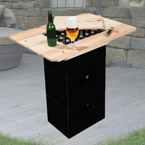 etc-shop Beistelltisch, Bierkasten Aufsatz Tisch Holz Bierkasten Stehtisch Bierkisten Tischaufsatz, aus Kiefernholz mit Deckel, LxB 79 x 57,5 cm